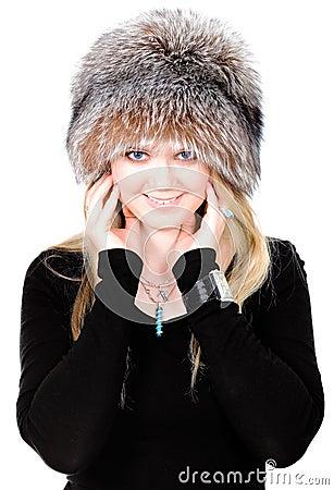Blond Russian woman in fur hat