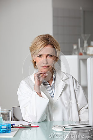 Blond scientist in laboratory