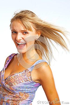 Blond shout girl