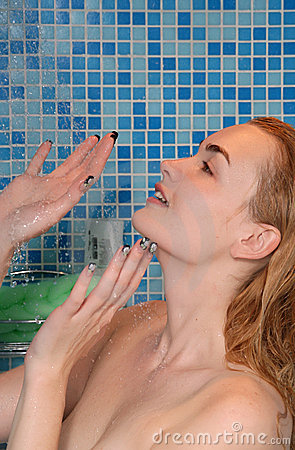 Blond in shower