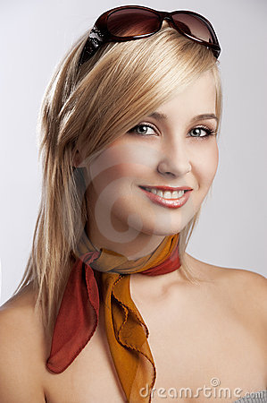 Free Blond Smiling Girl Portrait With Sunglasses Stock Images - 21619854