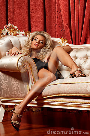 Blond on a sofa