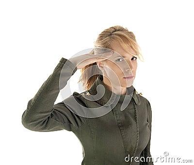 Blond soldier girl