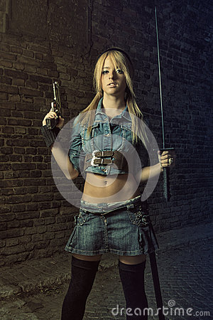 Blond with sword and gun