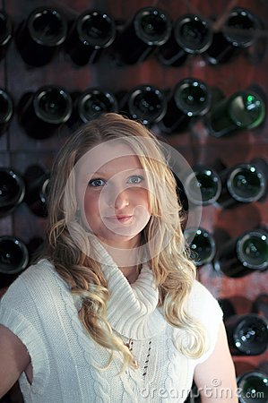 Blond Teen wine rack