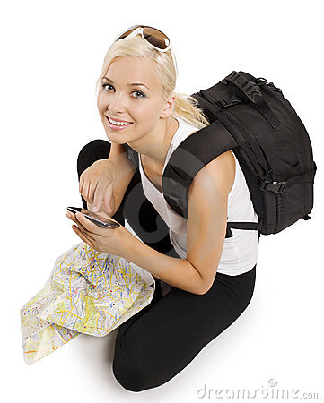Free Blond Tourist With Gps Stock Photos - 14864023