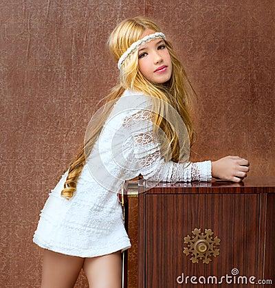 Blond vintage 70s kid girl retro