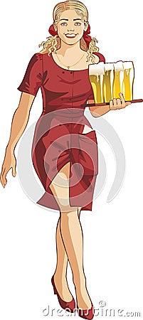 Blond waitress