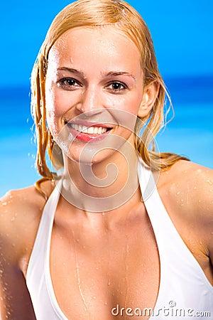 Blond warm woman in bikini