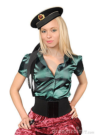Blond wearing soviet sailor cap