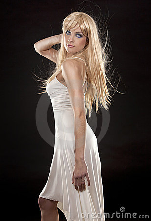 Blond in white dress