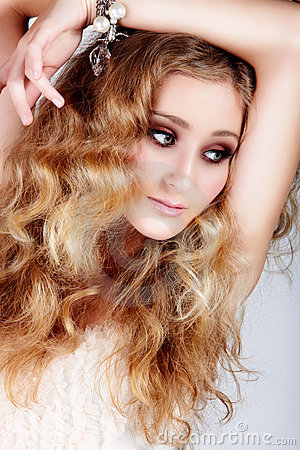 Blond woman with big hair