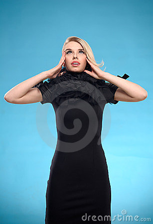 Blond woman with black formal dress