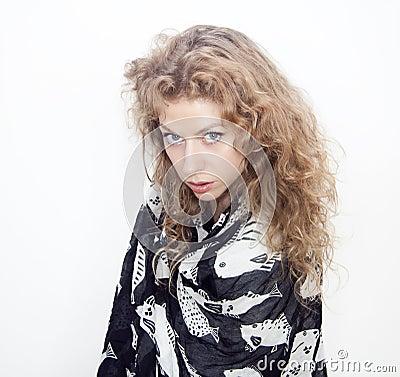 Blond woman blue eyes portrait long hair