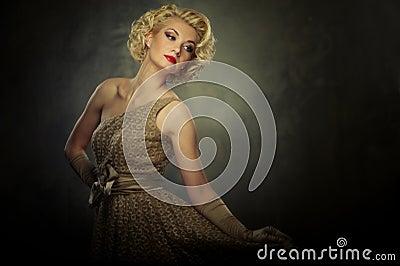 Blond woman in dress