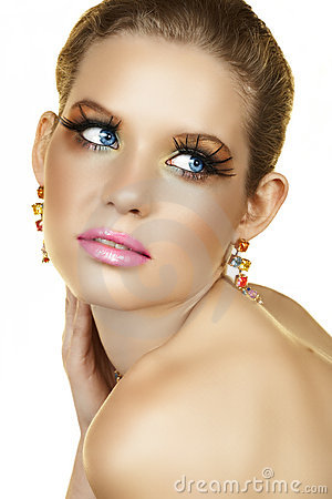 Blond woman with fake eyelashes