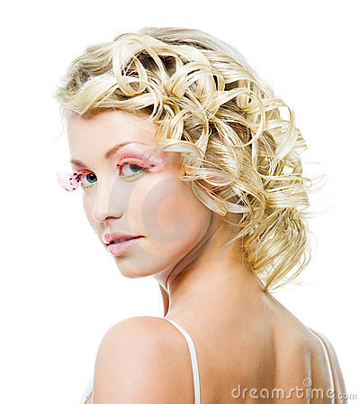 Blond woman with fashion makeup