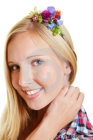 Blond woman with flowers in her hair