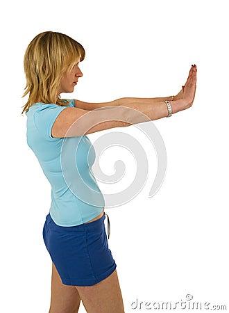 Blond woman gesturing stop