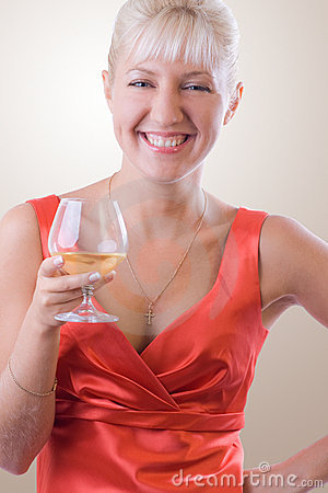 Blond woman with a glass of wine. #1