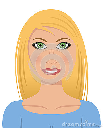 Blond Woman with Green Eyes