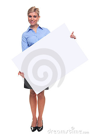Free Blond Woman Holding A Blank Message Board. Stock Photography - 12111912