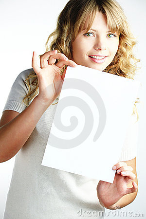 Free Blond Woman Holding A Paper Stock Photography - 12009852
