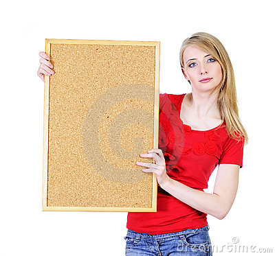 Blond woman holding a cork board