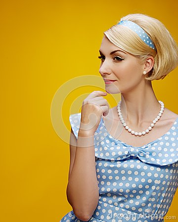 Free Blond Woman Isolated On Yellow Stock Photo - 28681870