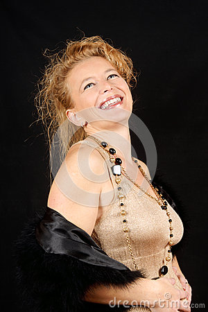 Blond woman laughing