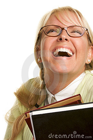 Free Blond Woman Laughs & Carries Stack Of Books Stock Photos - 5767713