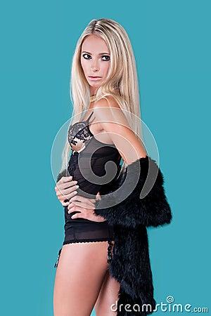 Blond woman in lingerie