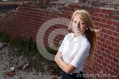 Blond woman lited by sun