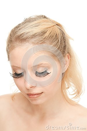 Blond Woman with long eyelashes