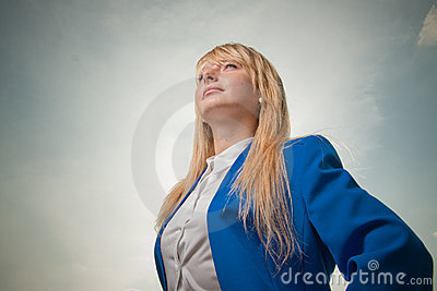 Blond woman looking into future