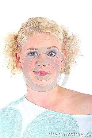 Blond woman looking surprised