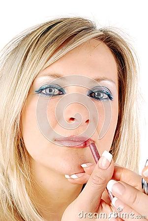Blond woman make up