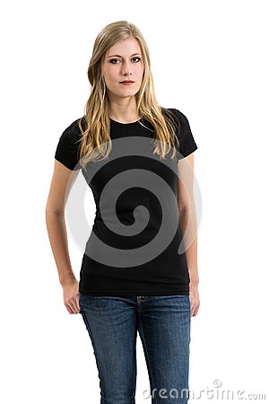 Free Blond Woman Modeling Blank Black Shirt Stock Photography - 34259902