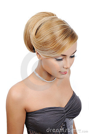 Blond  woman with modern gloss hairstyle