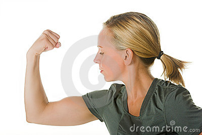 Blond woman with muscles