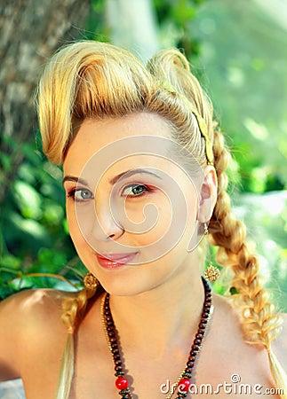 Blond woman outdoor