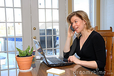 Blond woman on the phone