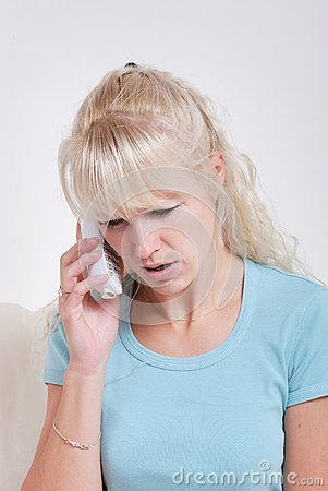 Blond woman phoning