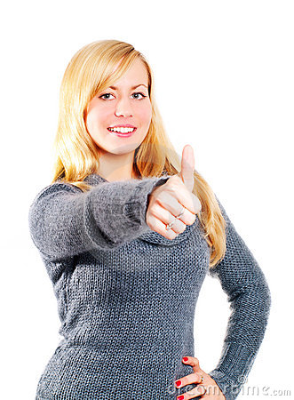 Free Blond Woman Pointing Ok Sign Over White Royalty Free Stock Photography - 14646647