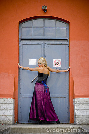 Free Blond Woman Posing In Doorway Stock Images - 6440144