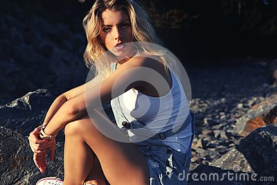 Blond Woman Posing On The Mountains Free Public Domain Cc0 Image