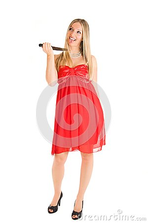 Blond woman in red dress and knife