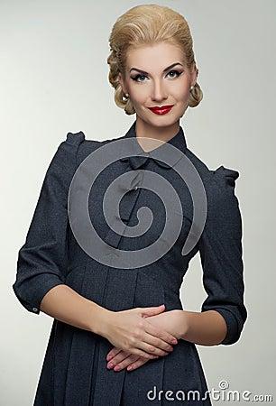 Blond woman in retro dress