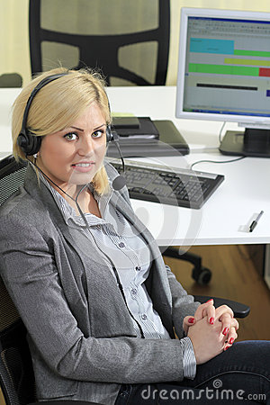 Blond woman sales operator