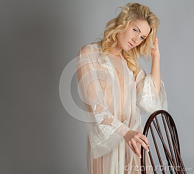 Blond Woman in Sheer Dressing Gown